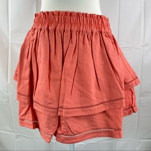 Women's Sportsgirl Coral Pink Lace Spliced Tiered Double Layer Mini Skirt Size 8